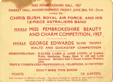 Astralaires Miss Pembrokeshire 1957 invitation