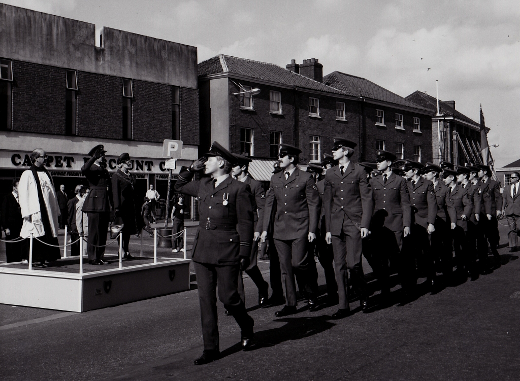Flt Lt David Browning Leads RAF March Past In Dereham - 1979