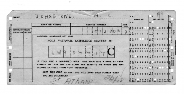 Anthony Johnstone 3rd Entry NI card 1948